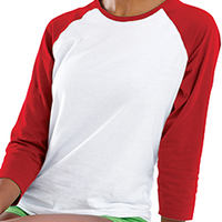 LAT Junior Fine Jersey 3/4 Sleeve Longer Length Baseball T-Shirt