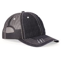 Herringbone Unstructured Contrast Stitch Trucker Cap