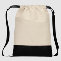 Heaveweight Cotton Canvas Drawstring Backpack with Contrasting Bottom