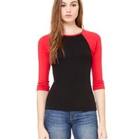 Ladies' Stretch Rib 3/4-Sleeve Contrast Raglan T-Shirt