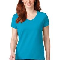 Ladies 100% Ring Spun Cotton V Neck T Shirt