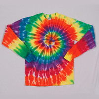 Dyenomite Adult Rainbow Spiral Long-Sleeve Tee