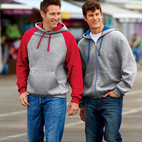 Adult NuBlend® Contrast Full-Zip Hooded Sweatshirt