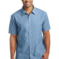 Mens Short Sleeve Washed Woven Shirt