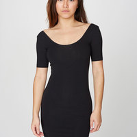 rsa8340 Cotton Spandex Jersey Double-U Neck Mini Dress