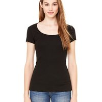 Women's Short Sleeve Sheer Mini Rib Scoopneck Tee