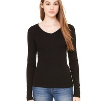 Women's Long Sleeve Sheer Mini Rib V-Neck Tee