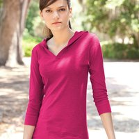 Women's Three-Quarter Sleeve Hooded Slub Tee