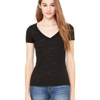 Women's Short Sleeve Burnout V-Neck Tee