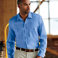 Adult Long-Sleeve Industrial Poplin Work Shirt