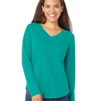Women's V-Neck French Terry Pullover