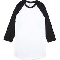 American Apparel Unisex Poly-Cotton 3/4-Sleeve Raglan Tee