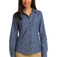 Ladies Patch Pockets Denim Shirt