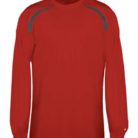 Badger Adult Long-Sleeve Performance Tee with Heather Shoulder Inserts