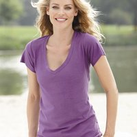 Ladies' V-Neck Slub T-Shirt