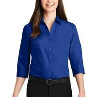 Ladies 3/4 Sleeve Carefree Poplin Shirt
