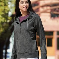Omega Stretch Terry Women's Snap Placket Hooded Pullover