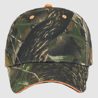 OTTO Camouflage Cotton Blend Twill Sandwich Visor Six Panel Low Profile Baseball Cap