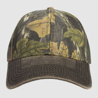 OTTO Camouflage Garment Washed Cotton Blend Twill w/ Heavy Washed PU Coated Visor Six Panel Low Prof